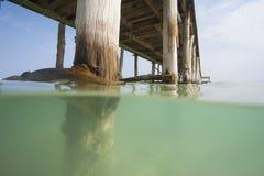 Embarcadero de madera en una playa tropical de la isla Fotos de archivo libres de regalías