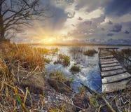 Embarcadero de madera viejo con la caña seca en puesta del sol fotografía de archivo libre de regalías