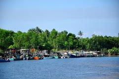 Embarcadero de Merang de los barcos de los pescadores Imágenes de archivo libres de regalías