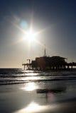 Embarcadero de Santa Mónica en la puesta del sol Fotografía de archivo