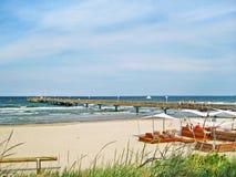 Embarcadero de Scharbeutz, mar Báltico, Alemania Imagen de archivo libre de regalías