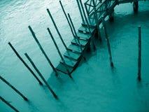Embarcadero del â del detalle 4 de Venecia en la lluvia Fotografía de archivo