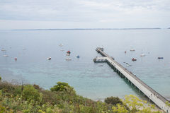 Embarcadero del Flinders y barcos de navegación, península de Mornington, Australia Fotos de archivo libres de regalías