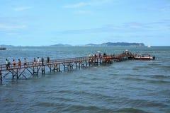Embarcadero del mar del pabellón de Penglai Imagenes de archivo