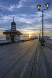Embarcadero del norte en la oscuridad - Inglaterra de Blackpool Imagenes de archivo