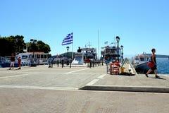 Embarcadero del puerto viejo, Skiathos, Grecia Imagen de archivo libre de regalías