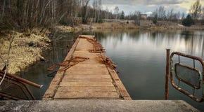 Embarcadero del río de Pripyat Fotografía de archivo libre de regalías
