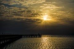 Embarcadero en el Mar Rojo en bahía de Hurghada/Makadi en la salida del sol Fotografía de archivo