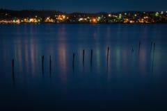 Embarcadero en la oscuridad Fotos de archivo libres de regalías