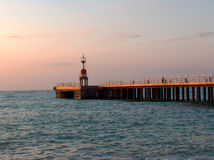 Embarcadero en la puesta del sol Fotos de archivo