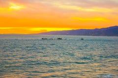 Embarcadero en la puesta del sol, Los Ángeles de Santa Monica de la playa Foto de archivo