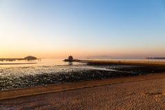 Embarcadero en la salida del sol, Qingdao de Zhanqiao Imagenes de archivo