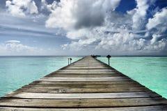 Embarcadero en laguna Foto de archivo libre de regalías