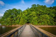 Embarcadero en normando del lago en Ramsey Creek Park, en Cornelio, Ca del norte foto de archivo libre de regalías