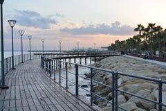 Embarcadero en parque de playa de Molos Fotos de archivo libres de regalías