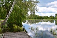 Embarcadero en una orilla del lago del verano Fotos de archivo
