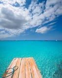 Embarcadero Illetas e Ibiza de la playa de Formentera Ses Illetes Imagenes de archivo