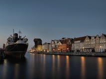 Embarcadero largo en Gdansk, Polonia Fotografía de archivo