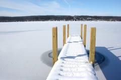 Embarcadero nevado en el lago congelado con bey del cielo azul Fotografía de archivo libre de regalías
