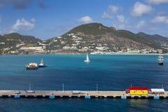 Embarcadero para los barcos de cruceros en Philipsburg en Sint Maarten Imagen de archivo libre de regalías