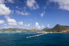 Embarcadero para los barcos de cruceros en Philipsburg en Sint Maarten Fotografía de archivo