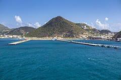 Embarcadero para los barcos de cruceros en Philipsburg Sint Maarten Foto de archivo libre de regalías