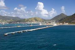 Embarcadero para los barcos de cruceros en Philipsburg Sint Maarten Fotografía de archivo