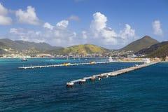 Embarcadero para los barcos de cruceros en Philipsburg Sint Maarten Fotografía de archivo libre de regalías