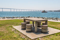 Embarcadero Park South in San Diego, Picnic Table Stock Photo