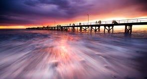 Embarcadero púrpura Fotografía de archivo libre de regalías