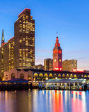 Embarcadero Towers and Ferry Building. In San Francisco, illuminated in SF 49ers red and gold colors Stock Photography