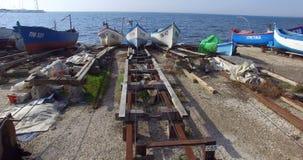 Embarcadero tradicional de los barcos de pesca en Pomorie en Bulgaria Imágenes de archivo libres de regalías