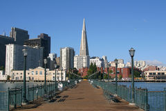 Embarcadero and Transamerica building. Royalty Free Stock Photography