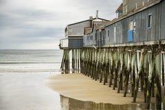 Embarcadero viejo de la playa de la huerta fotografía de archivo