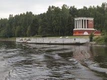 Embarcadero viejo en el canal de Moscú Fotos de archivo