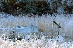Embarcadero viejo en invierno Imágenes de archivo libres de regalías