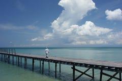 Embarcadero y cielos Foto de archivo