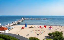Embarcadero y playa en Sopot, Polonia Fotografía de archivo