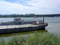 Embarcaderos en el río Ob en Novosibirsk Foto de archivo