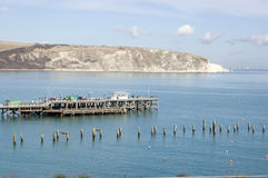 Embarcaderos viejos y nuevos en Swanage, Dorset Foto de archivo