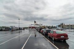 Embarking ferry in Turku harbour. Embarking Vikinglines ferry Amorella in Turku harbour early morning Royalty Free Stock Photo
