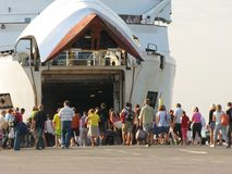 Embarking passengers. Passengers embarking on the cruise ship Royalty Free Stock Photography