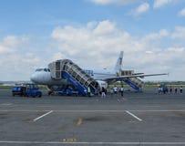 Embarque de Airbus A320 en Ostrava Fotos de archivo