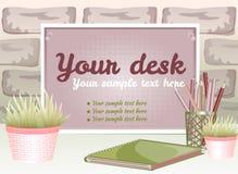 Embarque para o texto com um potenciômetro de flor em um fundo do tijolo Imagem de Stock