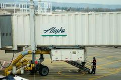 Embarquement d'Alaska Airlines Images stock