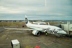 Embarquement de vol d'Alaska Airlines Photos libres de droits