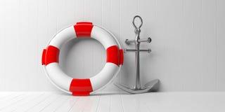 Embarquez l'ancre et la balise de vie sur le fond en bois blanc de plancher et de mur illustration 3D illustration de vecteur