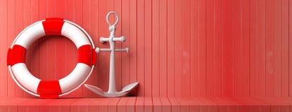 Embarquez l'ancre et la balise de vie sur le fond en bois rouge de plancher et de mur, bannière, l'espace de copie illustration 3 illustration libre de droits