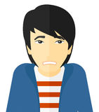 Embarrassed asian man. Vector flat design illustration  on white background Stock Photography