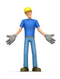 Embarrassed  builder. Illustration embarrassed abstract cartoon character on a white background Royalty Free Stock Photo